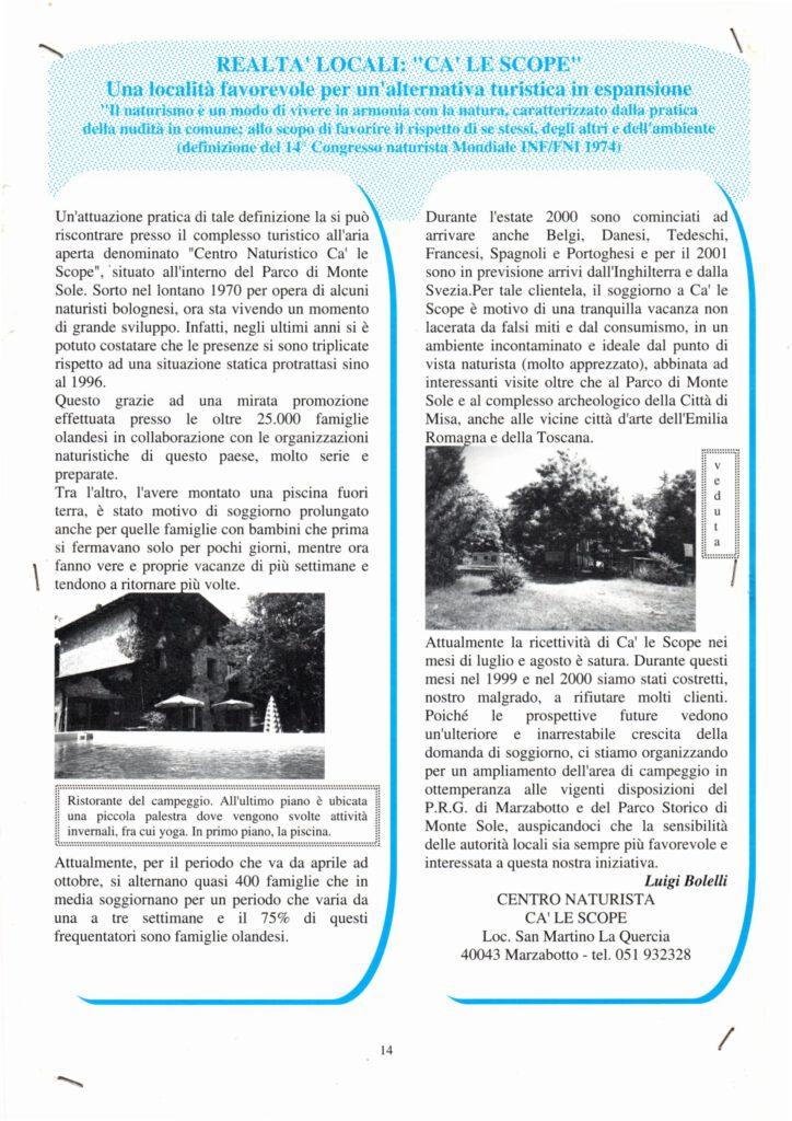 articolo in un quotidiano municipale degli anni '80